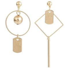 Letters Engraved Geometric Asymmetric Drop Earrings (25.265 IDR) ❤ liked on Polyvore featuring jewelry and earrings