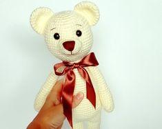 Knitted bear toy Crochet beige teddy bear Handmade bear Crochet soft amigurumi teddy bear Stuffed animal Birthday present Plush bear for kid Crochet Bear, Animal Birthday, Bear Toy, Birthday Presents, Plush, Beige, Toys, Handmade Gifts, Cute