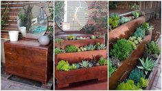 reuse and renew, gardening, repurposing upcycling, Use an old dresser to create a small garden space