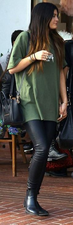 Who made Kylie Jenner's green print tee, black boots, and handbag that she wore in West Hollywood on November 23, 2013?