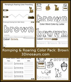 Free Romping & Roaring Color Brown Word Pack - 8 pages of activities - 3Dinosaurs.com