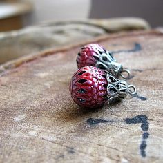 Enameled Filigree Hollow Beads, Earring Pair beads, hand painting w/h Antique Pink enamel/glass color, Enameled Artisan Supplies by NadinArtGlass on Etsy https://www.etsy.com/listing/79733534/enameled-filigree-hollow-beads-earring