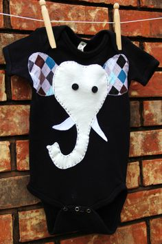 Elephant Onesie Argyle and Black by mylittlemookie on Etsy, $15.00
