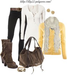 """Yellow/Cream/Black"" by dlp22 ❤ liked on Polyvore"