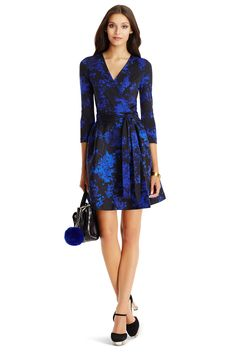 DVF Valerie A-Line Wool and Silk Wrap Dress in Floral Daze Blue #SEDUCTIONxDVF