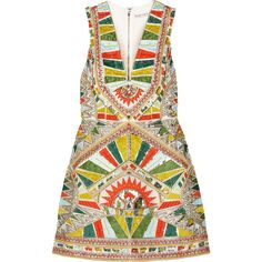 Alice + Olivia Natali embellished duchesse-silk mini dress (2,215 AED) ❤ liked on Polyvore featuring dresses, multi, champagne short dresses, loose dress, champagne dress, silk dress and loose fitting dresses
