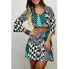 SHARE & Get it FREE | Stylish V-Neck Bell Sleeve Geometric Print Women's Tunic DressFor Fashion Lovers only:80,000+ Items • FREE SHIPPING Join Twinkledeals: Get YOUR $50 NOW!