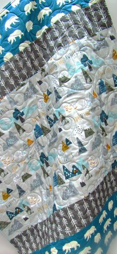 Rustic Baby Boy Quilt-Woodland Nursery Baby Bedding-Modern Baby Blanket-Blue-Charcoal Gray Grey-Bear-Arrows-Mountains by NowandThenQuilts on Etsy https://www.etsy.com/listing/176432011/rustic-baby-boy-quilt-woodland-nursery