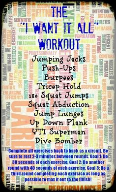 """The """"I Want it All"""" workout from @Tina Reale. You should check out her #bestbodybootcamp too - good stuff!"""