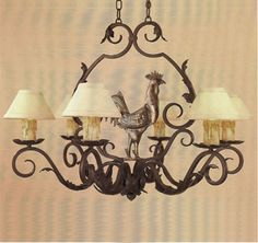 R224  SIX LIGHT FORGED IRON CHANDELIER WITH HANDMADE STEEL LEAVES AND A  SOLID BRASS ROOSTER SHADE: 3 X 7 X 4 SHOWN WITH OPTIONAL ANTIQUE WA...
