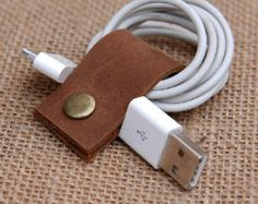 Leather Cable Band-Handmade Leather USB/Earphone Cable Management