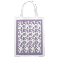 Purple Paisley Reusable Grocery Bag .................This design features a purple paisley pattern. You can find more colors with this design in my store. Also this pattern can be found on different products.