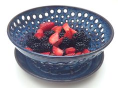 Fun Fun Collection of 'Bowls with Holes' made into a treasury by ThreeOldKeys on Etsy. Come see our blue speckled strainer amongst the fun bowls.  Colander Country by ThreeOldKeys on Etsy