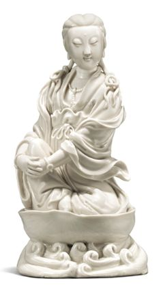 A 'Dehua' Figure of a Seated Guanyin, Qing Dynasty, late century-early Chinese Painting, Chinese Art, Qianlong Emperor, Asian Sculptures, Oriental, Guanyin, Qing Dynasty, Chinese Antiques, Fine Porcelain