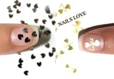 Nail Care – 20 PCS Love Hearts Gold or Silver Nail Art – a unique product by Craftasy on DaWanda