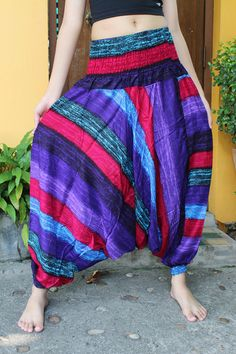 Harem Pants Drop Crotch Pants Baggy Pants Festival Clothing Stripes Sizing One size fits most but best for sizes 8-14 Size : (inches) Waist : 24- 50 (60 cm- 127 cm) Hips up to : 51 (130 cm) Length : 39 (102 cm) Around Ankle (with elastic) : 10-24 (25.5 cm - 61 cm). For your