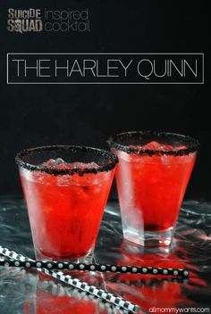 All Mommy Wants Suicide Squad Inspired Cocktail - The Harley Quinn cocktails Drinks Recipes Suicide Squad Warner Bros Bar Drinks, Cocktail Drinks, Yummy Drinks, Red Cocktails, Halloween Alcoholic Drinks, Strong Alcoholic Drinks, Alcoholic Beverages, Cake Vodka Drinks, Cherry Vodka Drinks