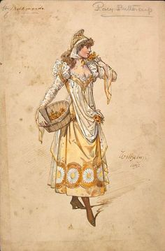 Costume design by Wilhelm (Charles William Pitcher, for the Milkmaids - Rosey Buttercup in the pantomime Dick Whittington as performed at the New Olympic Theatre on December Wilhelm Pantomime Designs. 1920s Aesthetic, Art Deco Artists, Victorian Costume, Pantomime, Theatre Costumes, Fantasy Costumes, Fashion Plates, Vintage Costumes, Vintage Halloween