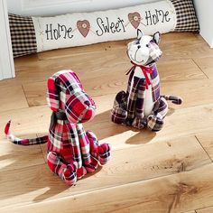 Tartan Cat Door Stop. Who let the cat out? It may be due to this practical and attractive door stop which can even be used as an ornament. A dog version is also available. £25. #cat #doorstop