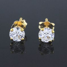 1.00 Ct D/VVS1 Round Cut Man Made Diamond Solitaire Stud Earrings Push Back G918 #Affinityjewelry #Stud