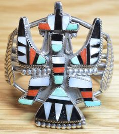 Bold Vintage Zuni Knifewing Inlay Sterling Silver Bracelet WOW 4923 #Unbranded