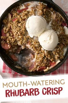 I found this strawberry rhubarb crisp recipe on a box of Quaker Oats about 20 years ago. It's quick, and easier to make than pie. It's versatile, too, because you can add strawberries in spring or apples in fall. Rhubarb Desserts, Rhubarb Recipes, Köstliche Desserts, Fruit Recipes, Delicious Desserts, Vegan Recipes, Dessert Recipes, Cooking Recipes, Frozen Rhubarb Pie Recipe
