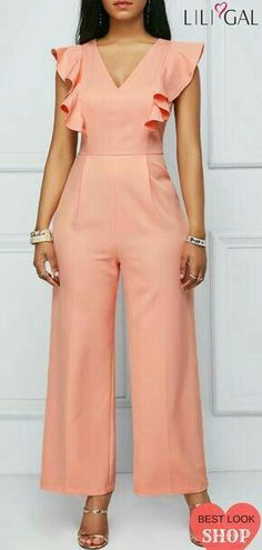 Ruffle Sleeve Peach Pink Zipper Back Jumpsuit Hijab Fashion, Fashion Dresses, Hijab Stile, Jumpsuit Outfit, Black Jumpsuit, Jumpsuit Pattern, Jumpsuit With Sleeves, Club Outfits, Overall