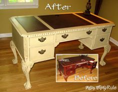 Annie Sloan Painted Desk - Before and After #chalkpaint- artsychicksrule.com