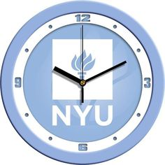 New - New York University Violets-Baby Blue Wall Clock