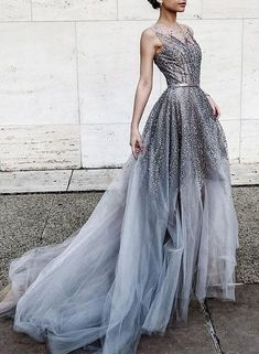 Gray tulle sequin long prom dress,tulle evening dress
