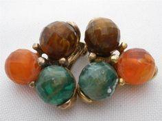 Signed Kramer Orange Green Brown Fall Bead Gold tone Clip Estate Vintage | eBay