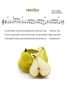 Music For Kids, Kids Songs, Color Flashcards, Music Notes, Pear, Kindergarten, Fruit, School, Ukulele