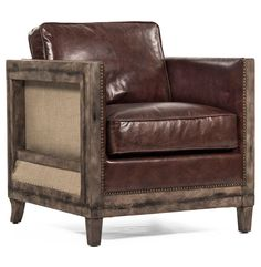 Beck Industrial Rustic Lodge Masculine SquareBrown Leather Accent Club Chair | Shop Home Decor | Art & Home  ||  The Beck Industrial Rustic Lodge Masculine SquareBrown Leather Accent Club Chair from Kathy Kuo Home will become a magnificent addition to your home's style. Part of Art & Home's complete Living Room Chairs & Benches collection. Brown Leather Chairs, Leather Club Chairs, Colorful Furniture, Unique Furniture, Furniture Ideas, Furniture Removal, Furniture Chairs, Bedroom Furniture, Outdoor Furniture
