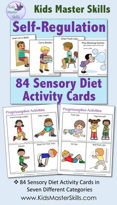 These 84 kid-friendly Sensory Diet Activity Cards are perfect to help children with self-regulation. Proprioceptive Activities, Sensory Activities, Therapy Activities, Activities For Kids, Sensory Rooms, Sensory Tubs, Sensory Play, Infant Lesson Plans, Kids Education