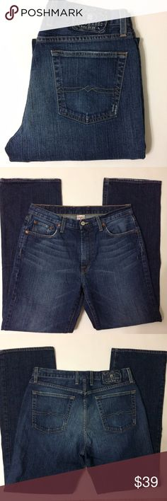 """Lucky Brand Men's Bootcut Jeans A darker wash and excellent condition with some manufactured fraying on legs and pockets...look new.. Size 32 with a little past 32.75"""" inseam...bundle to save more Lucky Brand Jeans Bootcut"""