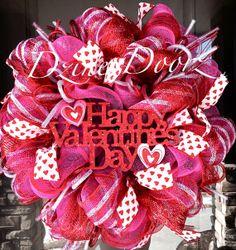 Happy Valentine's Day deco mesh Wreath by DzinerDoorz on Etsy, $95.00