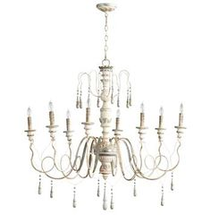 Chantilly French Country Parisian Blue White 8 Light Chandelier. #kathykuohome #chandelier #FrenchCountry