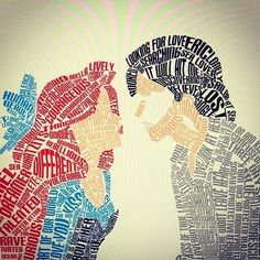 Ariel and Prince Eric typography portrait.