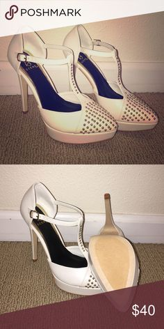 Leather heels with Silver Studded toe White leather heels with Silver stud design on toe and front strap. Never worn. Original box. Smoke and animal free. Scene Shoes Heels