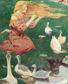 'La niña de los gansos'. Pintura de Jessie Willcox Smith, 1911. Colección de Kendra Allan Daniel.