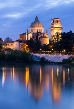 San Giorgio in Braida reflected in the Adige River, Verona, Veneto, Italy