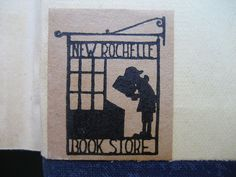 Book label of New Rochelle Book Store, New Rochelle, New York.