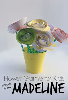 Madeline Math Activity with Spiral Paper Flowers. Plus a creative way to teach kids to share their well wishes to others. Includes step by step tutorial for how to make the spiral paper flowers with kids. Math Activities For Kids, Preschool Literacy, Summer Activities For Kids, Creative Activities, Fun Math, Book Activities, Teaching Kids, Kids Learning, Early Learning