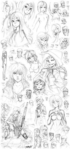 Eighth sketch dump from 2010 featuring many concept designs of Shuo and Tutu - two female characters from my Next-Gen web comic series - and some other random stuff. And Chihiro fanart from Spirite...