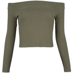 Army Green Off Shoulder Rib Long Sleeve Crop Top ($16) ❤ liked on Polyvore featuring tops, ribbed top, off-shoulder crop tops, ribbed long sleeve top, off-shoulder tops and off shoulder ribbed top