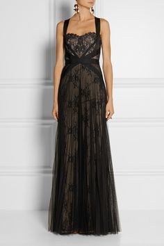 Notte by Marchesa | Grosgrain-trimmed lace and tulle gown | NET-A-PORTER.COM