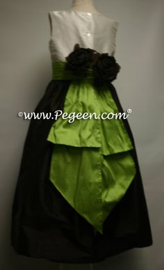 Custom Flower Girl Dresses Chocolate Brown And Apple Green With Chocolate Roses by Pegeen.com