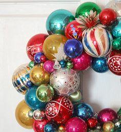 {Christmas ornament wreath} kinda wish I had this idea a month ago!