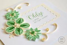 kartka urodzinowa zielono kremowa ręcznie robiona Quilling, Place Cards, Place Card Holders, Bedspreads, Quilting, Paper Quilling