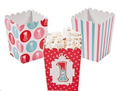 Mini 1st Birthday Circus Popcorn Boxes (12) :   Great to fill with popcorn!  These colourful boxes are also perfect for filling up with all sorts of goodies for giving away to party guests. 7.6cm x 7.6cm x 10cm; Simple assembly required  Price is per 12 boxes; assort colours; card